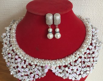 White Pearl/Crystal Collar Necklace set for weddings or special occasion