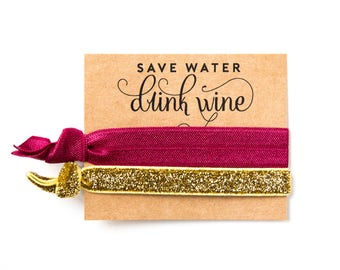 Wine Tour Party Hair Tie Favors | Wine Tour Birthday Favors, Wine + Gold Glitter Hair Tie Favors, Birthday Party Favors, Bachelorette Favors