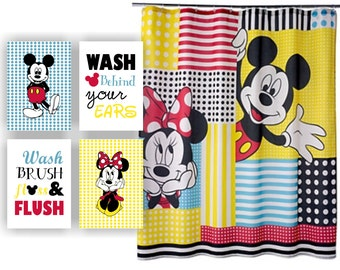 INSTANT DOWNLOAD Minnie Mouse and Mickey Mouse Disney Bathroom wall art Set of 4, 5x7, Wash Brush Floss Flush, Wash behind your ears