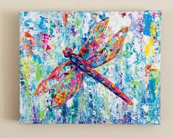 Dragonfly/Original acrylic painting/canvas/Abstract/Impressionism/Colorful/Bright palette/Texture/Modern/Contemporary/Gift/Decor/Bug/Rainbow