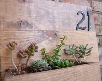 Wooden, Customizable Home Address Sign Planter Box