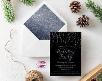 Black and Silver Shimmer Sparkle Holiday Party Invitation Printable Gift Exchange