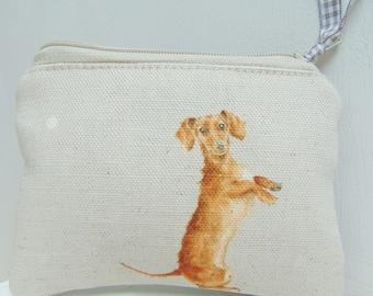 Handmade Sausage Dog Coin Purse, Dachshund Purse, Dog Purse, Wrendale Designs Fabric Dog Breeds Coin Pouch