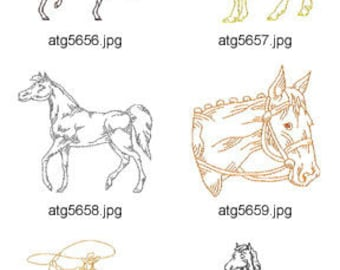 Horse-Redwork ( 10 Machine Embroidery Designs from ATW ) XYZ17D