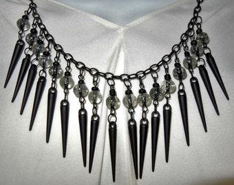 Handmade Black Metal Spike Glass Bead Choker Bib Necklace and Earring Set Punk Metal Retro