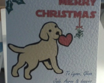 Handmade Personalised (or non personalised) Cute Puppy Christmas card Mistletoe Pup.