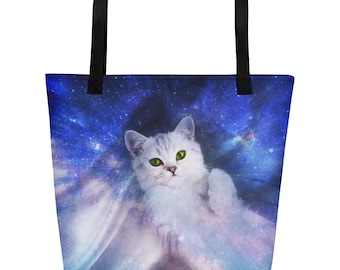 Galaxy Kitten Beach Bag