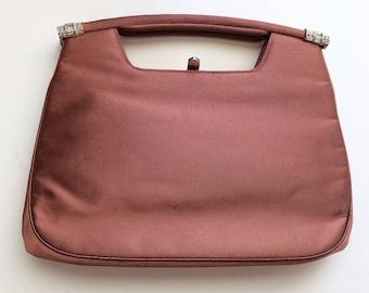 Vintage 50s Bienen Davis Bergdorf Goodman Bronze Satin Handbag Purse Clutch Rhinestones