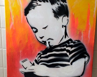 Child Smoking A Cigarette  Spray painted Graffiti Stencil Art (Signed)