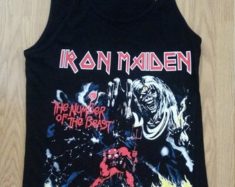 IRON MAIDEN - The Number Of The Beast -  Black-  Men TANK Top shirt - S- 2XL