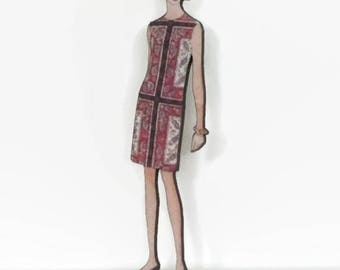 60s Style Retro Brooch, Vidal Sassoon Bobbed Hair Girl Pin, Mod Jewelry