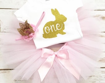 Bunny First Birthday Outfit - Easter First Birthday - 1st Birthday - Bunny Birthday - Easter Shirt - Easter Tutu - Easter Birthday Outfit