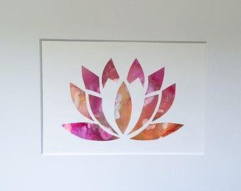 Lotus Alcohol Ink Painting / Die cut (5x7)