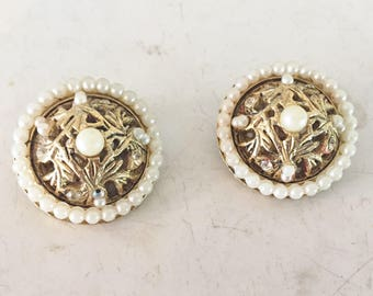 Vintage signed B.S.K pearl and rhinestone earrings
