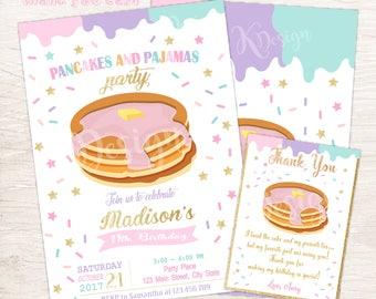 Pancakes Birthday Invitation, Pancakes and Pajamas Birthday Invitation, Printable Birthday Invitation