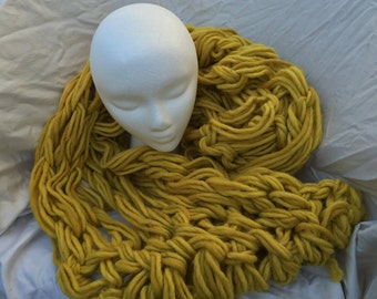 Golden Infinity Scarf, Arm Knitted with Wool Roving