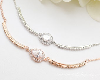 Personalized Bridesmaid Gift, Mother of Bride Gift, Bridesmaid Bracelet, Wedding Bracelet, Bridal Bracelet, Rose Gold Teardrop Bracelet