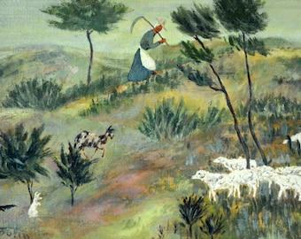 Oil on Canvas Painting Original Art by Jack Boutin - Shepherd, Unique Art