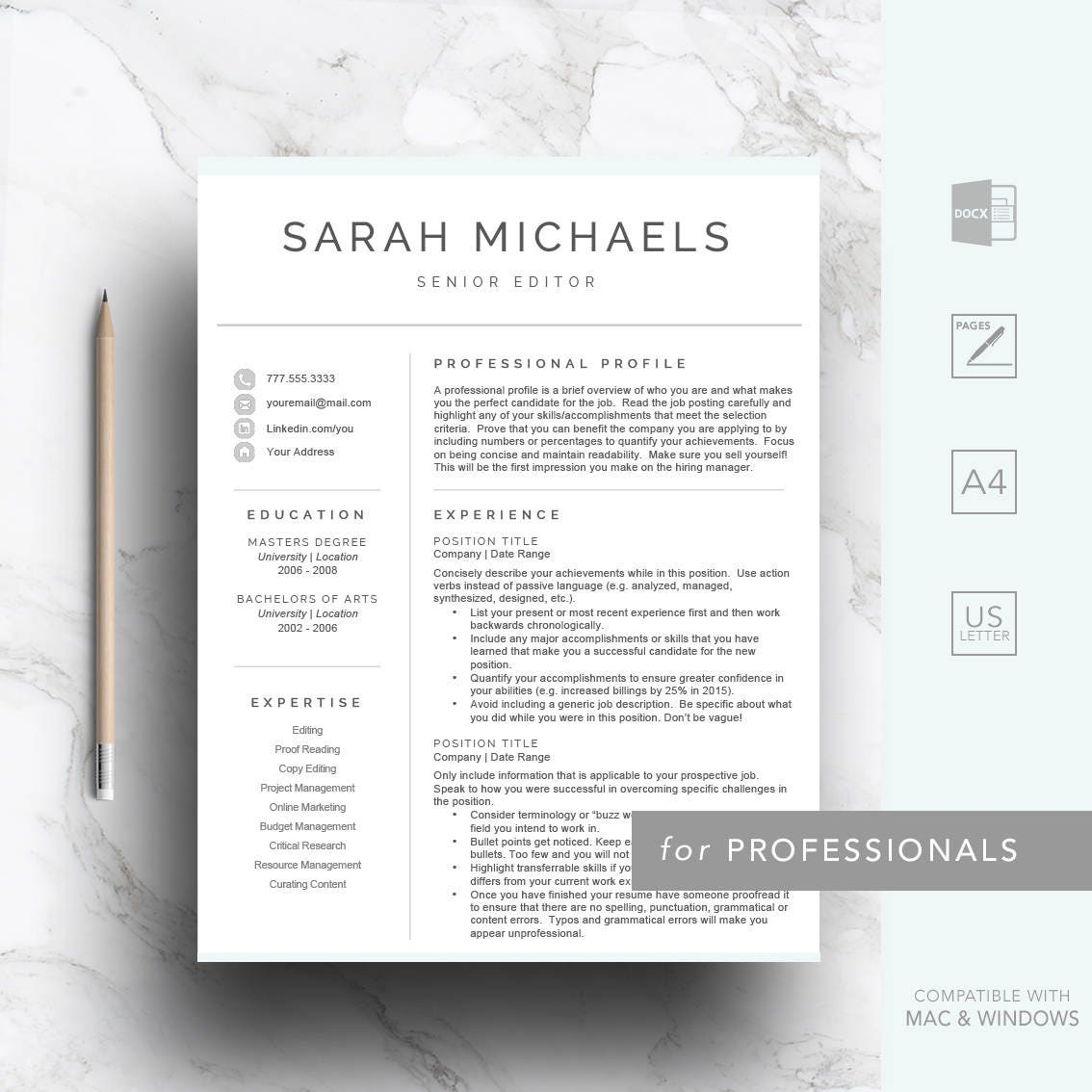 Professional resume template for Word & Pages CV Template
