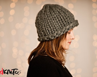 the WINNIPEG hat...Vegan knit hat, hand knit, chunky knit, knit toque, knit beanie, knit hat, vegan knit, vegan gift.