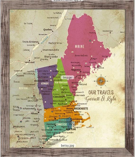 New england map push pin travel map framed new england map like this item publicscrutiny Choice Image