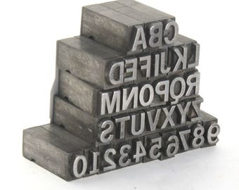 Vintage Metal Letterpress Type Uppercase Letters and Numbers / Your Choice