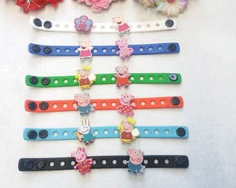 10 Pig Girl Silicone Bracelets Party Favors