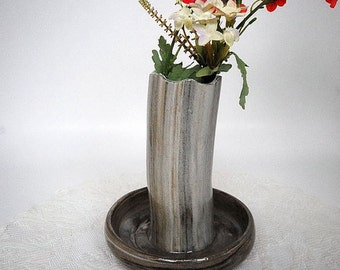 Flower Vase, Bud Vase, Mixing Spoon Storage, Living Room Decor, Gift For Her, Grey Marble Color Pottery Vessel, Handmade Pottery,