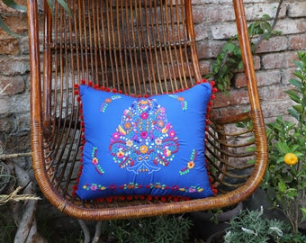 Pom Poms Cobalt blue and Multi colored Puebla Collection  Sham One of a kind no two repeat