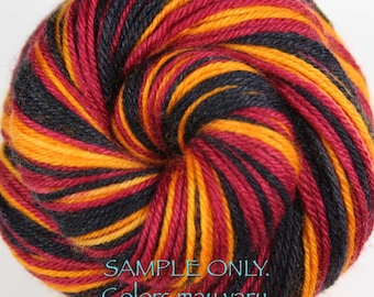 """Dyed to Order: Self striping sock yarn - """"WINE-GOLD-BLACK"""" - Sports inspired - Hand dyed - Sports Team / School colors yarn - Cleveland"""