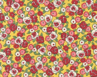 By the HALF YARD - Bread n' Butter by Sandy Klop for Moda, #21692-17 Pansies on Yellow, White, Pink, Red Flowers on Whited Dotted Yellow