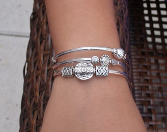 Silver Plated Memory Wire Bangle Bracelet