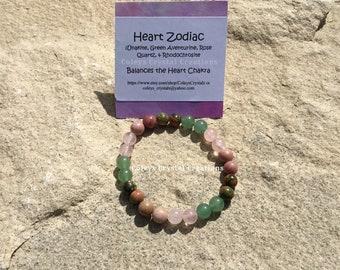 Heart Chakra ~ Unakite, Rhodochrosite, Green Aventurine, and Rose Quartz Crystal Beaded Bracelet