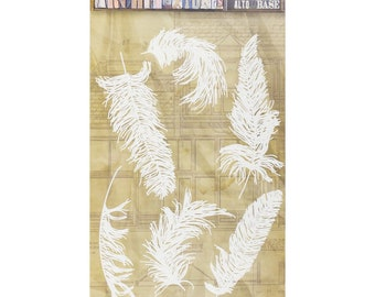 7Gypsies Architextures TALL BASE FEATHERS Stencil Mixed Media 6 pieces #7g25041