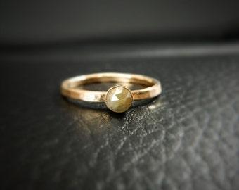 Diamond Engagement Ring, Rose Cut Diamond Engagement Ring, 14k Yellow Gold Ring