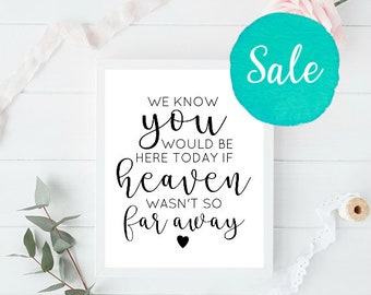 If Heaven Wasn't So Far Away, If Heaven, In Memory Sign, Forever in Our Hearts Sign, Wedding Signs, Printable Wedding Signs, Custom Wedding