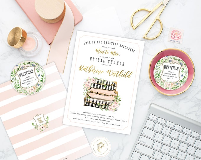 Love is the greatest adventure - Miss to Mrs Bridal Shower Invitation - Floral invitation - Traveling Theme - Travel Bridal Shower