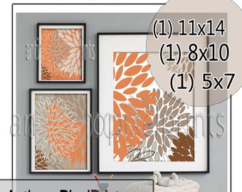 Collage Browns Tans Burnt Orange Floral Art Wall Gallery Digital Print  - Set of (3) -  Prints -  11x14, 8x10, 5x7 (UNFRAMED)