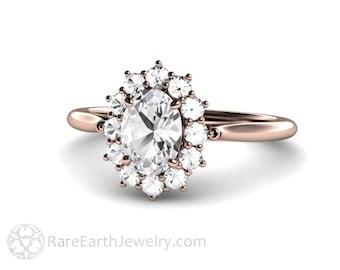 Cluster Moissanite Engagement Ring Oval Halo Forever One Moissanite Ring Conflict Free Diamond Alternative