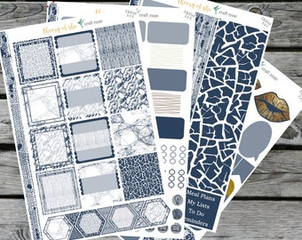 Navy & White Modern Collection   Planner Stickers   All Planners