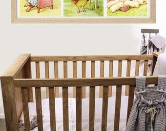 Little Pig Robinson THREE PRINT SET , Beatrix Potter Prints, Vintage Kids Wall Decor, Piglet  Animal Wall Art, Girl's Room