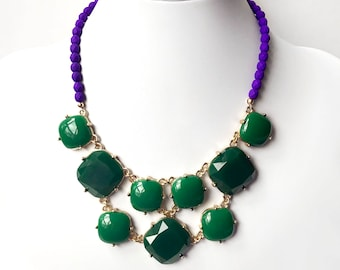 Necklace - Kelly Green Bib Necklace - Neon Purple & Green Bib Necklace - Gold Statement Necklace - Czech Glass