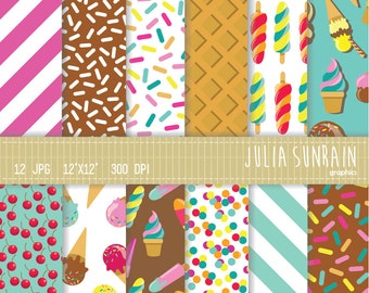 Ice Cream - Digital Scrapbooking Papers Set - Instant Download - Personal and Commercial Use - Summer - Party