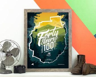 Adirondack 46ers 100th Anniversary Print • Adirondacks, NY • Mountain Graphic • ADK High Peaks • Hiking Decor Poster • New York Wall Art