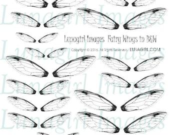 FAIRY WINGS digital collage sheet, Black & White wings, dragonfly wings magical fantasy fairies earrings printable jewelry ephemera DOWNLOAD