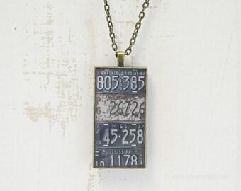 Vintage Mississippi License Plates Necklace | Unique Pendant | Mississippi Jewelry | Antique Bronze | Wearable Art | License Plate