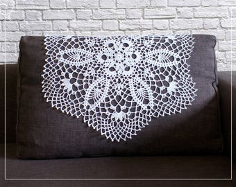 Crocheted white doily with pineapple,lace doily, 22,04'' (56 cm), lace doilies for wedding tables