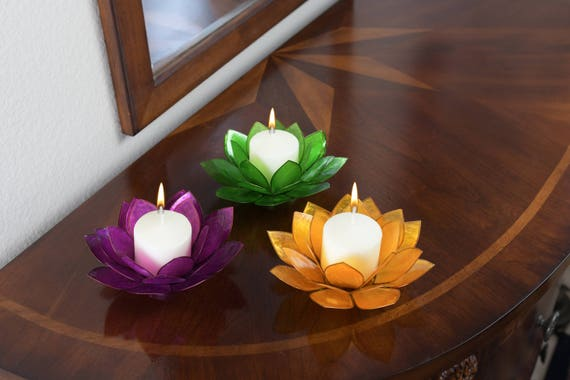 3-Piece Lotus Flower Capiz Shell Candle Holders - Free Shipping