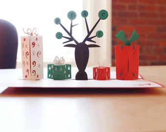 Reindeer with Presents Modern Christmas Card, Pop Up Christmas Card, Pop Up Christmas Cards, Pop Up Holiday Cards, Pop Up Reindeer, Lovepop