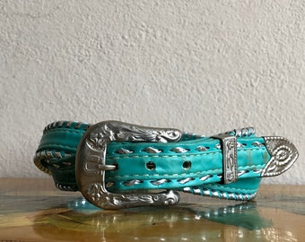 Teal Blue Leather Belt Vintage Distressed Silver Buckle Cowgirl Belt